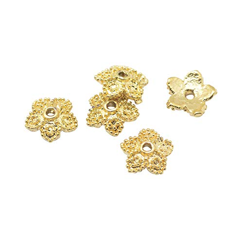 (B.D craft 50pcs 1mm Brass 5-Petal Flower Bead Caps with Real Gold Plated Golden Metal Flora Bead End Caps for Jewelry Making Supplies&DIY Craft Accessories, 7.52mm)