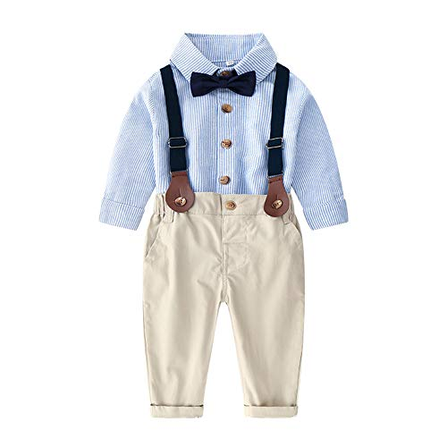 - Moyikiss Studio Baby Boys Long Sleeve Striped Shirt with Bowtie+Overalls Outfit Suits, Infant Gentleman Pants Set (Blue, 90/12-18Months)