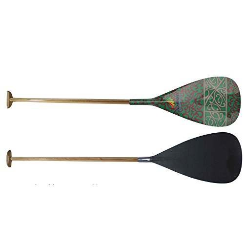 Z&J SPORT Hybrid Outrigger Canoe OC Paddle with Carbon Hawaii Type Graphics Design Blade and Handmade Wooden Bent Oval Shaft (RU-102, 52'')