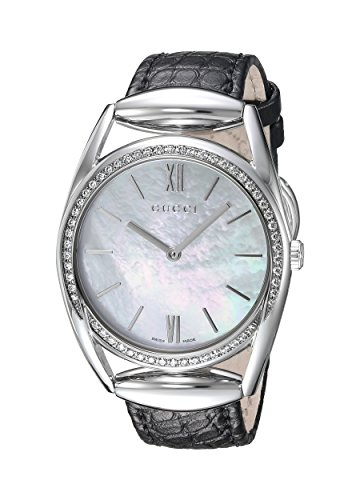 Gucci Women's Horsebit Quartz Stainless Steel and Leather Automatic Watch, Color:Black (Model: YA140406)