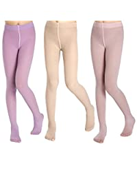 5Mayi Little Girls' Footed Solid Color Tights 3-Pair-Pack