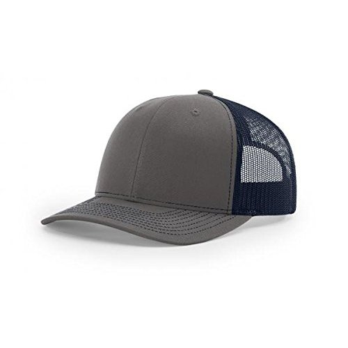 Richardson Charcoal/Navy 112 Mesh Back Trucker Cap Snapback (Snapback Cap Charcoal)