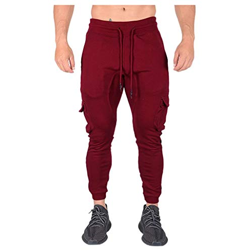 TANLANG ♥Trend Mens Sport Pure Color Bandage Casual Loose Sweatpants Drawstring Elasticity Pant Hiking Pants Wine