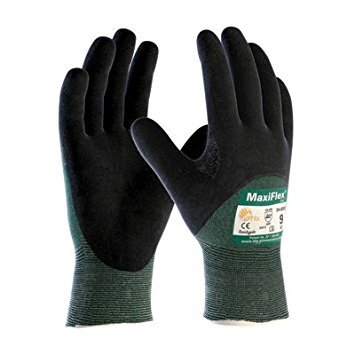Protective Industrial Products Small Green And Black MaxiFlex® Cut By ATG® Engineered Yarn Cut Resistant Gloves With Continuous Knitwrist, Dotted Palm, Fingers And Knuckles And Reinforced Thumb Crotch by Protective Industrial Products