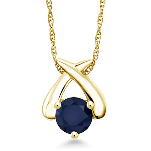 Gem Stone King 1.10 Ct Round Blue Sapphire 10K Yellow Gold Pendant With Chain ()