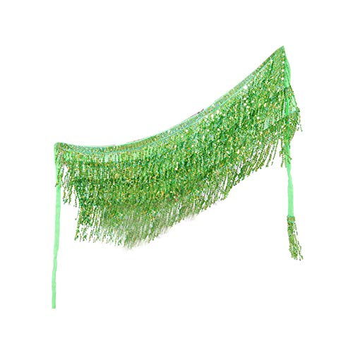 guohanfsh Belly Dance Dancer Costume Sequins Tassels Fringes Hip Scarf Belt Waist Skirt Grass Green ()