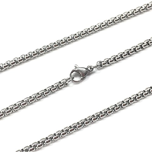 Dog Tag Surplus Stainless Steel Rolo Chain Jewelry (Silver Tone 3MM 30