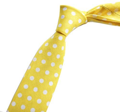 Elfeves Men Yellow White Dot Self Cravat Fashion Tie 2.14