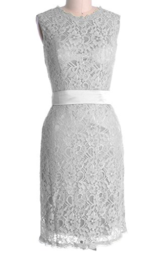 MACloth Women High Neck Short Lace Bridesmaid Dress Cocktail Formal Party Gown Plateado