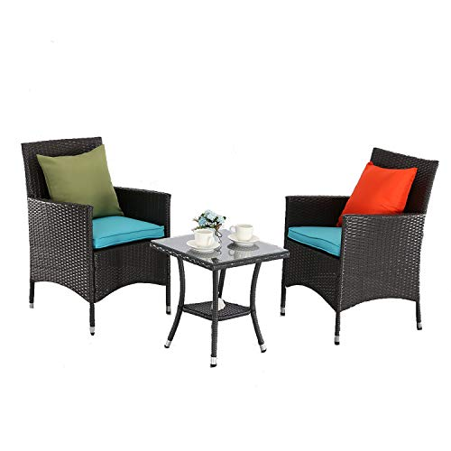 M&S 3 PCS Outdoor Patio Bistro Sets Chairs Rattan Wicker Cushions with Table Porch Garden (Espresso-Turquoise)