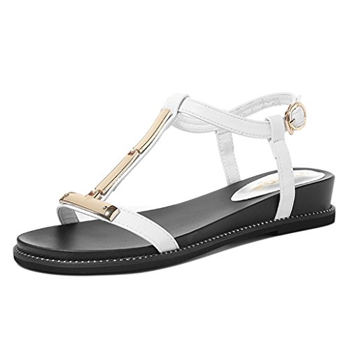 Sandals PU Upper Vamp Open Toe Female Casual Shoes Summer Student Flat Shoes White bvJg3