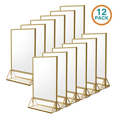 NIUBEE 12Pack 4 x 6 Clear Acrylic Sign HolderGold Borders and Vertical Stand Double Sided Table Menu Holders Picture Frames for Wedding Table Numbers Restaurant Signs Photos and Art Display