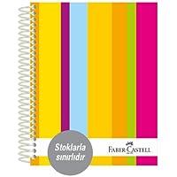 Faber-Castell 5075400503 Sert Kapak Sep.3+1+1 Renkli Çizgiler Defter, 200 Yaprak