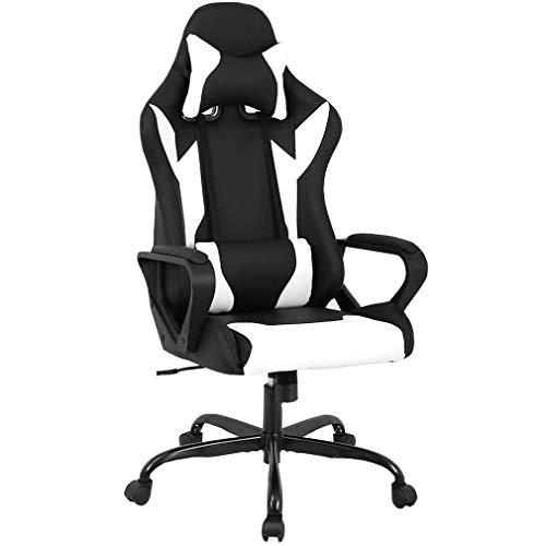 BestMassage Office Desk Gaming Chair High Back Computer Task Swivel Executive Racing Chair for BackSupport with Lumbar Support Armrest Adjust Headrest (White) (Renewed)
