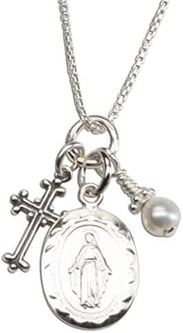 Girl's Sterling Silver First Communion and Confirmation Miraculous Necklace with Cultured Pearl and Cross