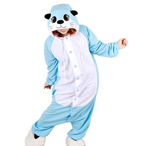 WOTOGOLD Animal Cosplay Costume Otter Mens Womens Cartoon Pajamas Blue (Otter Costume)