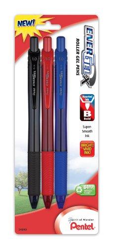 (Pentel EnerGel-X Retractable Liquid Gel Pen, 1.0mm, Metal Tip, Assorted Ink, Pack of 3 (BL110BP3M))