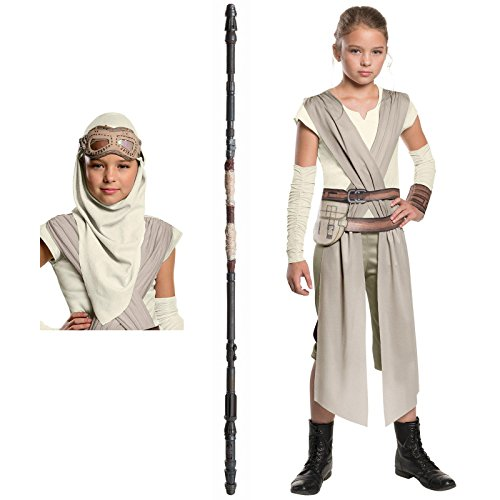 Star Wars Rey Costume Bundle Set - Classic Child Large Costume, Mask, and Staff