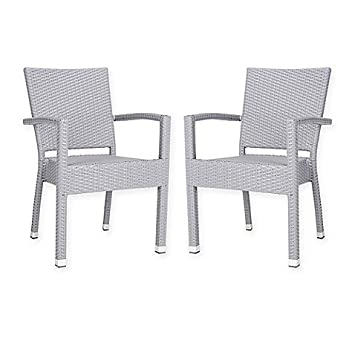 amazon com safavieh kelda outdoor stacking chairs in grey set of