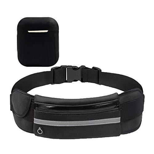 LuLyL 1 STKS zwarte waterdichte running taille tas + 1 STKS siliconen oortelefoon geval, geschikt voor sportschool…
