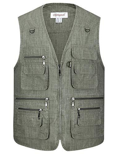 (Gihuo Men's Summer Leisure Outdoor Pockets Fish Photo Journalist Vest Plus Size (Medium, Green#2))
