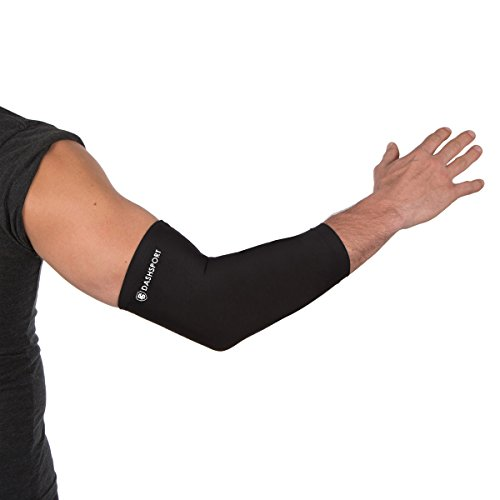 Copper Compression Elbow Sleeve - 200 GSM Material with Highest Copper Content - Elbow Brace Support and Recovery you can Wear Anywhere. Golfers And Tennis Elbow, Arthritis, Tendonitis.