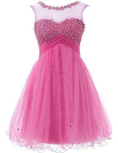 Kurz Sleeve Kleider Mint Fanciest Brautjungferkleider 2016 Damen Cap Pink Homecoming wF0xE8xt