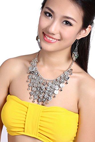 (ZLTdream Belly Dance Gypsy Jewelry Accessories Dancing Necklace+Earrings 3pcs/Set Silver)