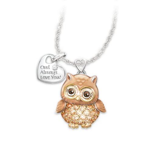 Women's Necklace: Granddaughter Owl Always Love You Pendant Necklace by The Bradford Exchange
