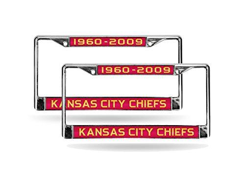 (Rico Kansas City Chiefs 50th Anniv Chrome Metal (2) Laser Cut License Plate Frame Set)