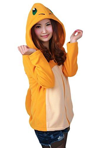 Costume Women Charmander (Cutiefox Cute Cartoon Charmander Tail Zip Up Cosplay Costume Hooded)