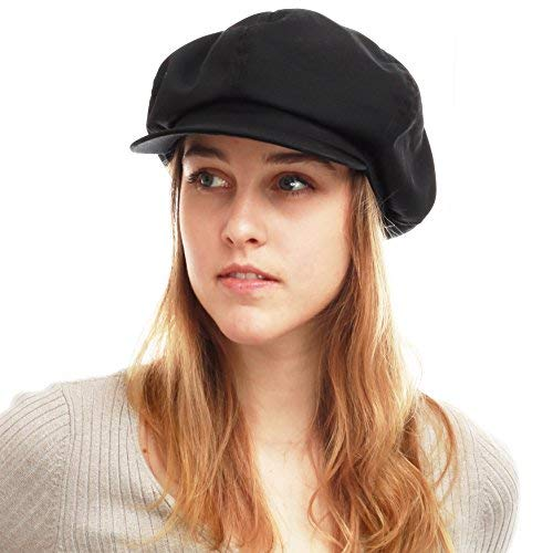 THE HAT DEPOT 100% Cotton Plain Blank 6 Panel Newsboy Gatsby Apple Cabbie Cap Hat Made in USA (Black) -
