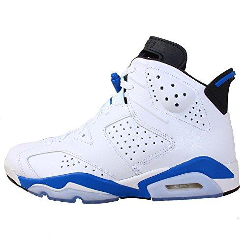 Nike Air Jordan 6 Retro Hombres Hi Top Zapatillas De Baloncesto 384664 Zapatillas (uk 7 Us 8 Eu 41, Blanco Sport Azul Negro 107)