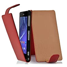 Cadorabo – Flip Style Case for Sony Xperia Z2 – Shell Etui Cover Protection Skin in CANDY-APPLE-RED