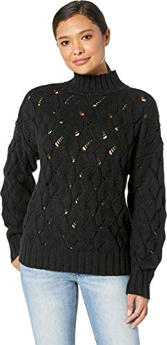 Vince Camuto Womens Long Sleeve Texture Stitch Mock Neck Sweater Rich Black XL ()