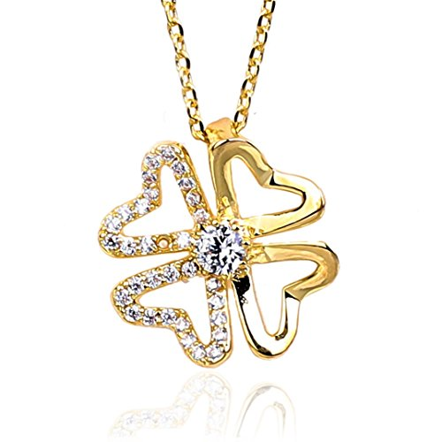 - NickAngelo's Lucky Clover Pendant Necklace For Women 18K Gold Plated Four Flower Leaf Elegant Cubic Zirconia Crystal Stones Fashion Jewelry By (gold-plated-copper, cubic-zirconia)