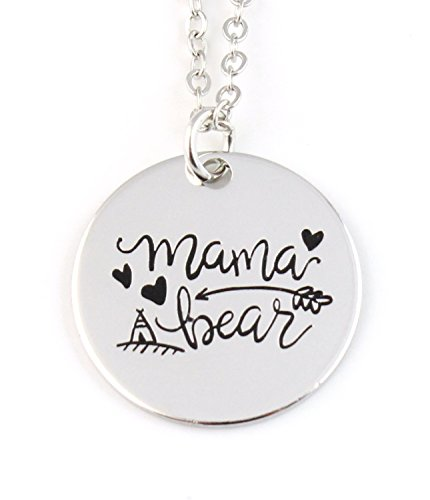 Boho - Mama Bear - Silver Tone Coin Pendant Necklace - Mothers Day - Mom - Holiday Gift - Holiday Gift - Hut - Bear Hut The