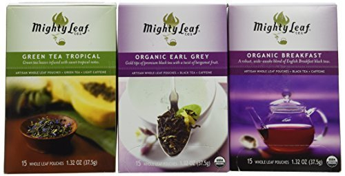 Mighty Leaf Tea Variety Pack (Pack of 3) 1-Mighty Leaf Tea Organic Earl Grey, 1-Mighty Leaf Tea Green Tea Tropical, 1-Mighty Leaf Tea Organic Breakfast