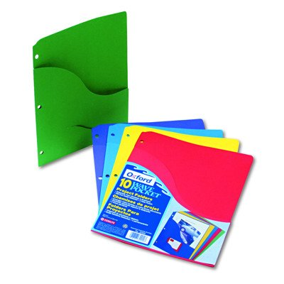 Pendaflex Slash Pocket Project Folders, Letter - 10 per Pack (Blue, Green, Red, Violet, Yellow)