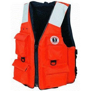 Mustang Classic Industrial PFD with 4 Pockets, Orange, Medium ()