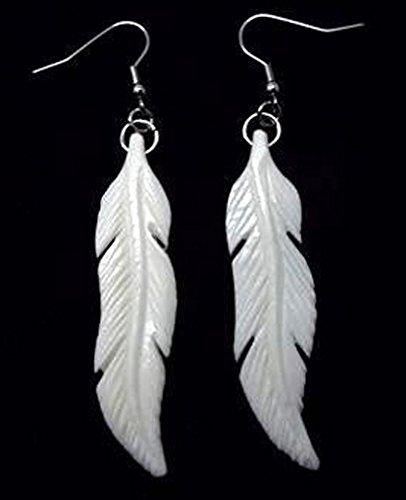 Hand Carved Maori Bone Feather Earrings/Pair