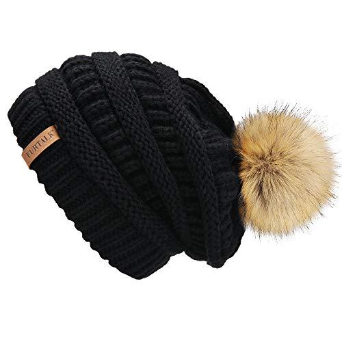 Hat Cap Ski Logo (FURTALK Womens Winter Slouchy Knit Beanie Chunky Faux Fur Pom Poms Hat Bobble Hat Ski Cap)