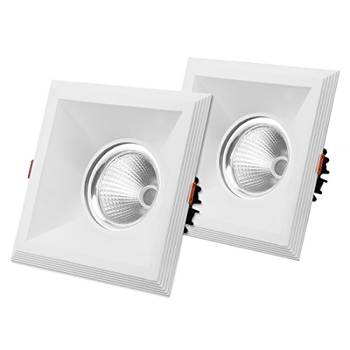 uxcell 2Pcs 30W 200mmx200mm LED COB Recessed Ceiling Panel Downlight Spotlight Lamp Shell