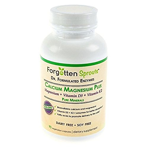 Calcium Magnesium Plus with Vitamin D3 and Vitamin K2 - Non-GMO Doctor Formulated Enzymes - 90 Vegetarian Capsules - 5% of Sales Donated to Charity - by Forgotten Sprouts by Forgotten Sprouts