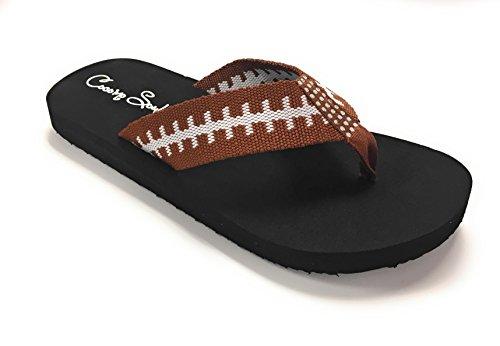 (Cocomo Soul Flat Fabric Football Flip Flop Sandals Rhinestone (12) Brown)