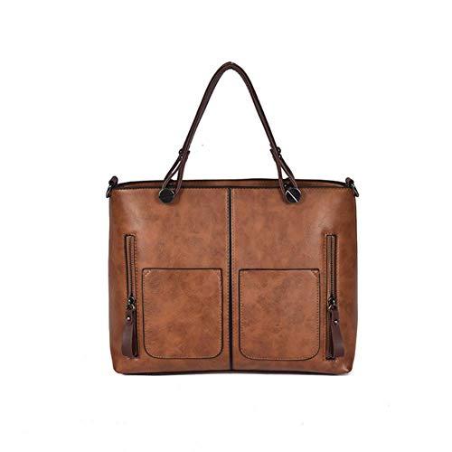 Portafoglio Messenger tracolla Vintage Shopping Borsa tracolla Messenger in Tasche pelle grigio a Lady Popoti Marrone Borse a Borsa donna gE7HHx