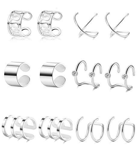 Ofeiyaa 6 Pairs Stainless Steel Ear Clips Cartilage Earring Cuffs Non Piercing Earrings Wrap Set for Women Men Size Adjustable Silver Gold Tone