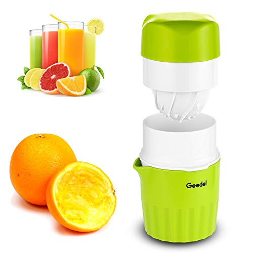 Geedel 2 in 1 Manual Juicer, Citrus Orange Squeezer Hand Rotation Press Reamer, Portable Hand Juicer for Lemon, Orange, Lime and Grapefruits - 16 oz Capacity