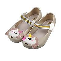 iFANS Girls Cute Shiny Unicorn Mary Jane Princess Flat for Toddler Little Kid Beige