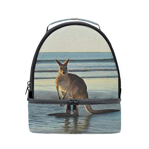 Carefree Kangaroo Animal Portable School Shoulder Tote Lunch Bag Handbag Kids Double Lunch Box Reusable Insulated Cooler For Women Student Travel Outdoor ()
